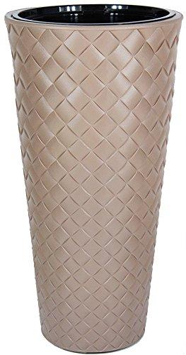 Blumentopf +Einsatz Blumenkübel Pflanzkübel Pflanztopf Übertopf Rundtopf Makata (Beige, Durchmesser:29cm / Höhe:56cm)