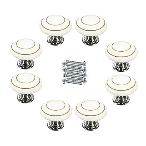 FBSHOP(TM) Retro Stil Runde Keramik-Türknauf Türknopf Möbelknauf Möbelknopf für Schränke, Schubladen, Truhen, Schlafzimmer, Badezimmer ,Baby-Kind-Kindermöbel Schubladengriffe Dekorative(8 Stück,Weiß)