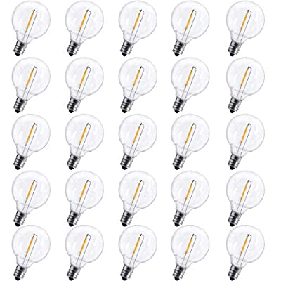 Boutique window 25 Pack G40 Outdoor Patio Globe Replacement Bulbs, Christmas Incandescent Replacement Bulb, E12/C7 Candelabra Base, 5 Watt