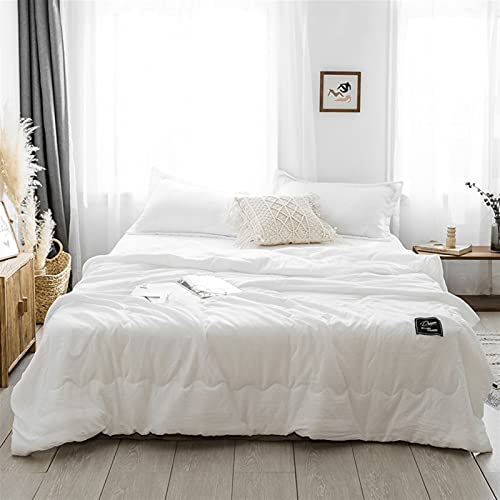 Zasinege Vintage suave y acogedor verano Coolen Quilt Individual doble transpirable cama sofá cama cama avión viaje ropa de cama (color: blanco, tamaño: 200 x 230 cm)
