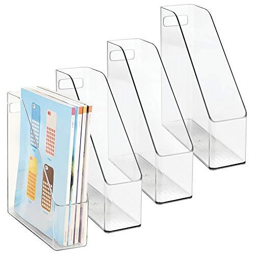 mDesign 4er-Set Archiv-Stehsammler transparent - Zeitschriftensammler aus Kunststoff - Schreibtisch-Organizer für Zeitschriften, Magazine, Notizen & Co. - hochwertig & praktisch