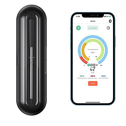 Bewahly Bluetooth Fleischthermometer, Kabellos Grillthermometer , Smart App-Steuerung Digital Bratenthermometer, Funk Wasserdicht Ofenthermometer für Küche, Ofen, Grill, Fleisch, Braten, BBQ
