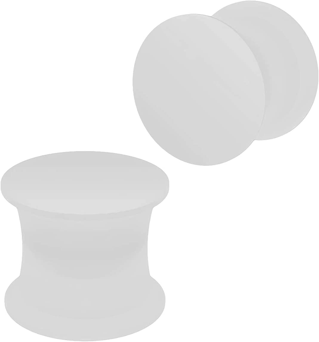 2pc Silicone White Double Flared Saddle Earring Ear Stretcher Gauge Plug Lobe Earring Piercing Jewelry