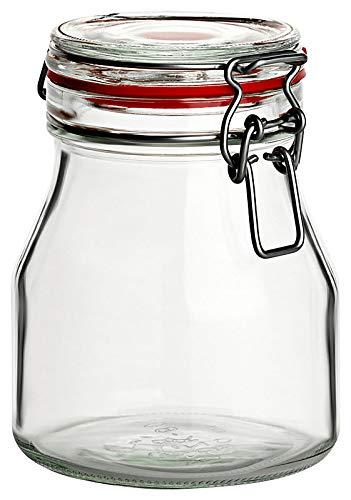 gouveo - Set di 6 vasetti in vetro da 750 ml, rotondi, con ricettario da 28 pagine, con chiusura a leva, colore: Rosso
