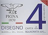 Pigna Pignaquattro Blocco 4 Angoli Carta Liscia Squadrata, 24 x 33 cm, Multicolore