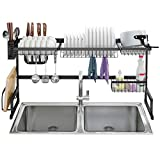 LANGRIA Dish Drying Rack Over Sink Stainless Steel Drainer Shelf, Professional 2-Tier Utensils Holder Display Stand for Kitchen Counter Organization, Fully Customizable, 37.4 Inches Width (Black)
