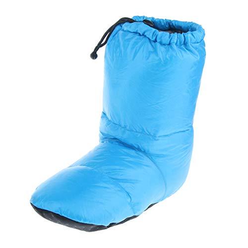 MagiDeal Femme Homme Botte Chaussettes de Camping d'hiver Chausson d'Intérieur ou Extérieur Doux en Peluche Épais Antidérapant Bottes Chaussures - Bleu L, 35-47