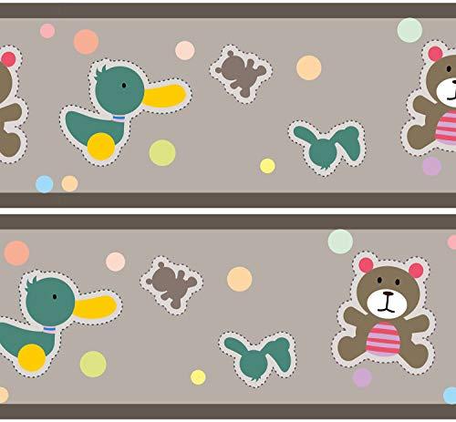 Selbstklebende Bordüre Babyspielzeug, 4-teilig 560x15cm, Tapetenbordüre, Wandbordüre, Borte, Wanddeko,Baby, Teddy