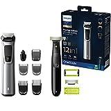 Philips MG9710/90 Recortadora de barba 12 en 1 Maquina recortadora de barba y Cortapelos para hombre, óptima precisión, tecnología Dualcut, autonomía de 120 minutos, OneBlade batería, Negro/Plata