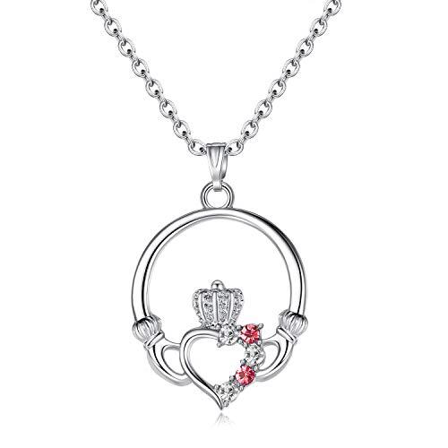 EVBEA Herz Krone Halskette Anhänger mit Edelstein eingesetzt aus Claddagh Geschenk für Damen Mädchen Platin Beschichtet Schmuck (Kettenlänge 45 cm)