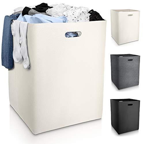 Fit Guru® Klappbarer XXL Wäschekorb mit Griffen - Aufbewahrungskorb groß - 120L - Wäschebox beige/weiß aus Filz - Eckige Wäschetonne aus Stoff - Laundry Basket