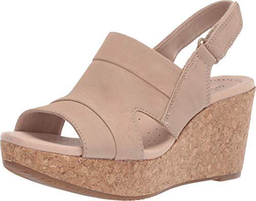 Clarks Women's Annadel Ivory Wedge Sandal, Sand Nubuck, 080 M US