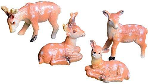 4PCS Deer Figur Mini 3D Resin Deer Statue Desktop Dekor Figur Cake Topper für Fairy Garden Dollhouse Home Decor
