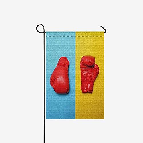 jiaxingdalin Lustige rote Boxhandschuhe auf blauem und gelbem Hintergrund Gartenflagge dekorativ für Garten andations, Banner (ohne Fahnenmast)