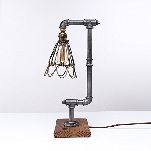 Loft Vintage Fer Forgé En Métal Lampe De Table argent, Industriel E27 Edison Tuyau D'eau Table Lampe de chevet Lampe, Salon Chambre Café Bar Décoration XIANGYU