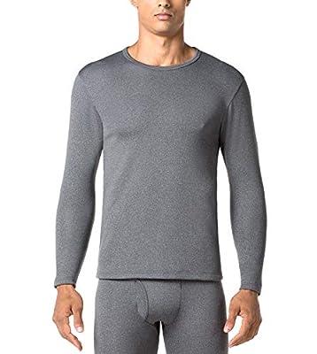 "LAPASA Men's Heavyweight Thermal Underwear Top Fleece Lined Base Layer Long Sleeve Shirt M26 (1 Top/Dark Grey, XL Chest 44""-46"" Sleeve 24.4"")"