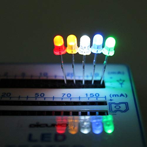 DiCUNO 1000pcs 3mm LED Assorted Light Emitting Diodes Diffused 2pin Round Color White/Red/Yellow/Green/Blue Kit Box(5 Colors x 200pcs)