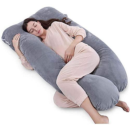 Almohada de apoyo en forma de U, almohada de maternidad, cojín para dormir / cojín de maternidad con funda de terciopelo, alivio del dolor de cuello y piernas gris 140x70 cm