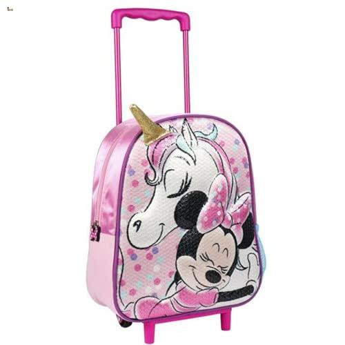 BricoLoco - Zaino trolley con ruote Minnie Mouse e Unicorno per bambine e bambini, zaino asilo scuola piscina mare regalo originale
