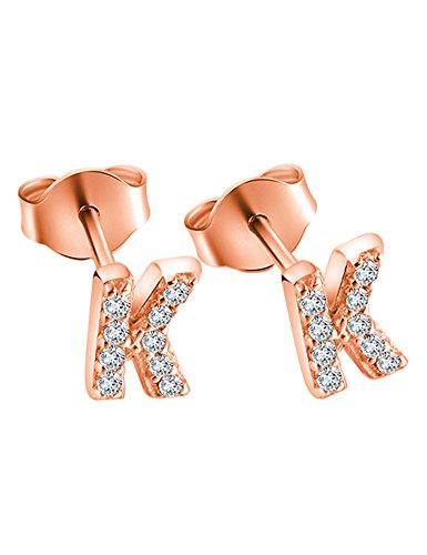 Paialco Pendientes Iniciales Oro de Rose Plateado con CZ Diamantes - Carta K