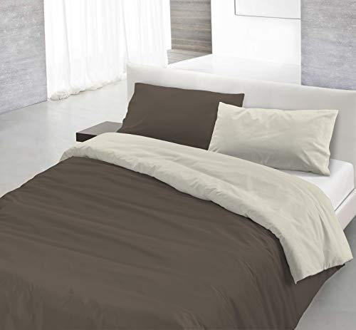Italian Bed Linen Natural Color Parure Copripiumino con Sacco e Federe, 100% Cotone, marrone/panna, Matrimoniale, 3 Unità