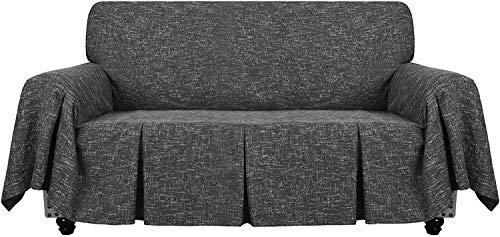 Funda De Sofá De Lino De 1 Pieza Fundas De Sofá Universales para Sofá De 2 Cojines Funda para Sala De Estar Funda Protectora para Muebles con Volantes (Negro,2 plazas(140-175 cm))