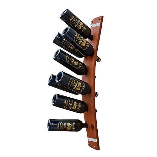 Lucky Big Head YY Wandregal Aus Eichenholz, Vintage-Weinregal Aus Massivholz, Kreative Eichenfasswand, Für Weinkeller Geeignet, Bar, Lagerung Von 6-9 Flaschen Rotwein, 91 * 12,5 cm,WineRed,9hole