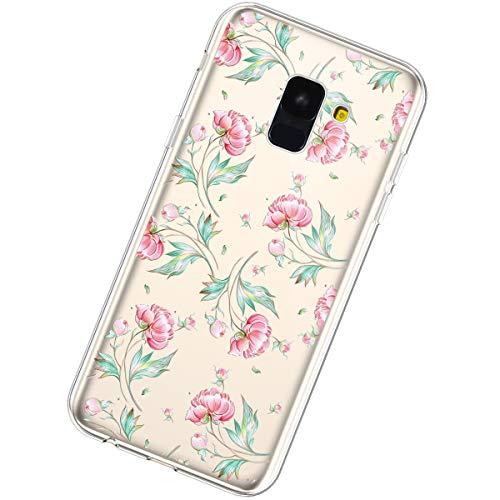 Coque Compatible Samsung Galaxy A5/A8 2018,Étui Housse Transparent Créatif Fleur Motif Clair Design Souple Protection TPU Silicone Ultra Mince Poids léger Anti Choc Crystal Gel Soft Bumper Case,#11