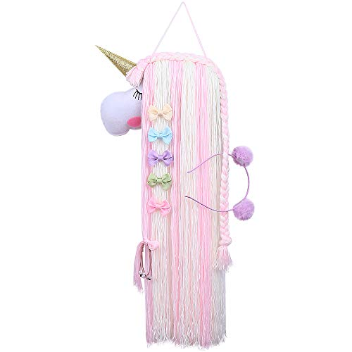 Soporte de lazo para el pelo de unicornio y accesorios para el pelo de bebé, exhibición de almacenamiento para diadema, corbata de pelo, decoración de lazo para niños pequeños (1)