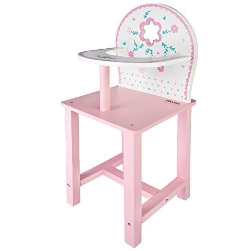 WOOMAX - Trona de madera para muñecas WOOMAX, trona bebe juguete, 25x20x55 cm, para muñecas 30-40, rosa y blanco, trona de madera muñecas juguetes, + 3 años cm, (46476)