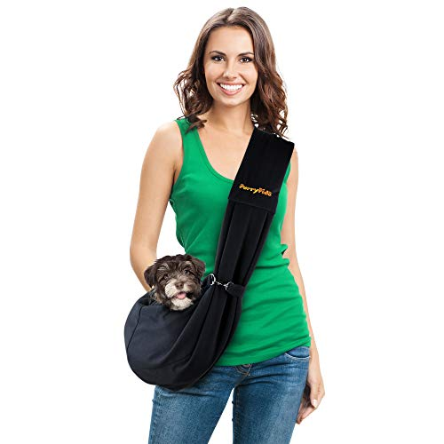 FURRY FIDO Dog Carriers for Small Dogs - Breathable Cat Dog Bag - Handsfree Pet Sling Carrier - Travel Puppy Carrying Bag - Classic Pet Sling
