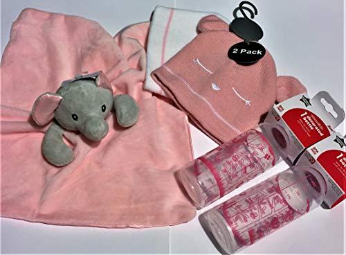 Baby Girl – Poussette confortable – Doudou éléphant + 2 chapeaux d'hiver + biberons décorés