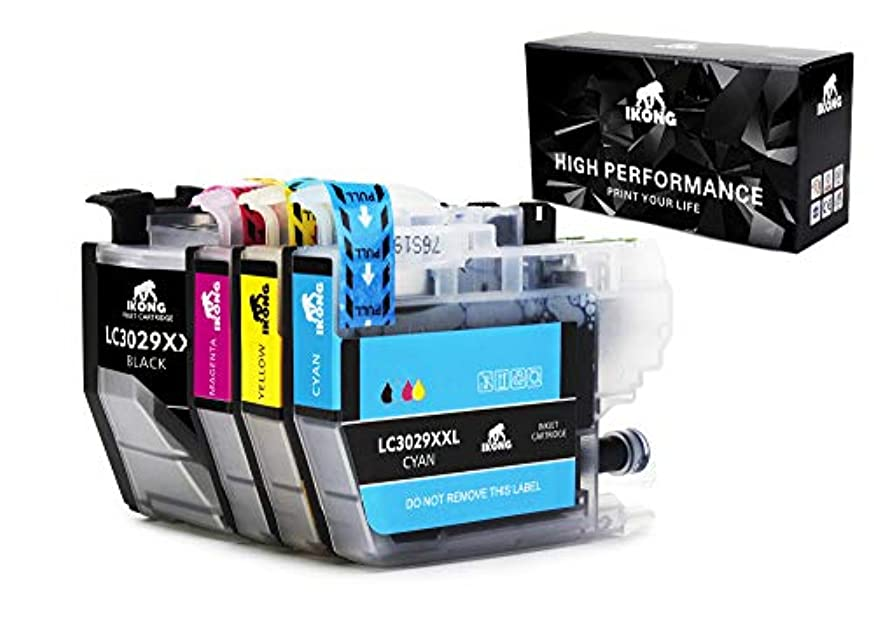 4-Pack IKONG LC3029 Replacement for LC3029 Super High Yield Ink Cartridges Work with MFC-J5830DW MFC-J6535DW MFC-J6935DW MFC-J5930DW MFCJ5830DWXL MFCJ6535DWXL Printer