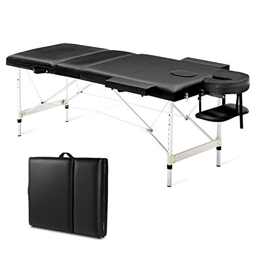 MaxKare Aluminum Massage Table 84'' Professional Portable Spa Lash Bed 3 Fold Height Adjustable With Carrying Bag Headrest Armrest for Home-Use