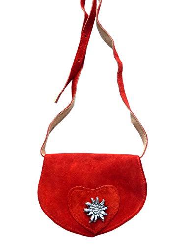 Kleine Trachtentasche Dirndltasche Umhängetasche mit Edelweiss Leder rot