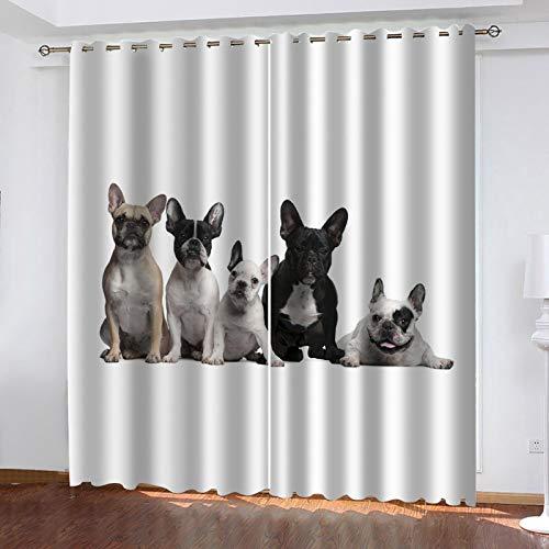 WLHRJ Cortina Opaca en Cocina el Salon dormitorios habitación Infantil 3D Impresión Digital Ojales Cortinas termica - 264x210 cm - Perro Mascota Animal