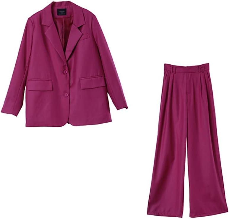 JJWC Women Two-Piece Set Suit Office Lady Single Button Blazer High Waist Long Pants Suits (Color : Pink, Size : L Code)