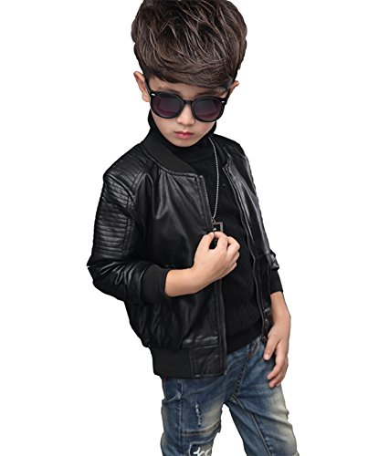 YoungSoul Kinder Jungen Kragen Motorrad Kunst Lederjacken Herbst & Winterjacken Leder Mantel Biker für Teenager Schwarz(mit Futter) Etikette 150cm