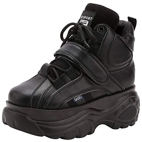 Jamron Femmes Gothique Punk High Top Chaussures Plateforme Chunky Sneakers à Lacets Baskets Compensées Noir SN02924 EU37