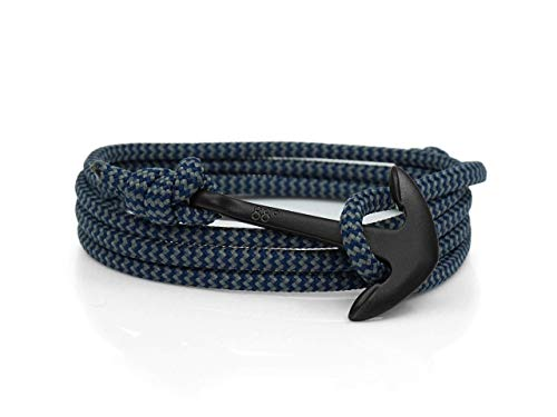 Eighty Eight Degrees Anchor Rope Bracelet for Men & Women Made from Stainless Steel and Paracord, Adjustable, Handmade in The UK (Storm Zig Zag & Black, Stainless Steel)