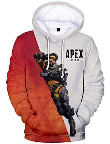 Apex Legends パーカー メンズ 3Dプリントフード付き エーペックスレジェンズ キャラクター プルオーバー スウェット 長袖 (XS)