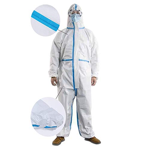 Protective Coverall Disposable Coverall Heavy Duty and Breathable Non-Woven Unisex Full Sizes Hooded with Elastic Wrist and Ankles White… (L)