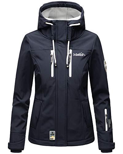 Marikoo Damen Outdoor Softshell Funktions Regen Jacke Parka Windbreaker ZMTZ (M, Blau Kurze Variante)