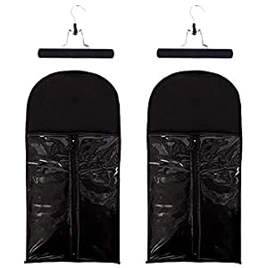 2 Pack Hair Extension Hanger with Portable Wig Storage Bag Double Side Anti-slip Hair Extension Holder Dust-proof Wig Storage for Multiple Wigs(Black)
