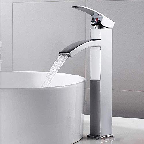 Grifo de cascada alta grifo de lavabo alto mezclador de lavabo spray cuadrado mono cuerpo de aleación de zinc barra de extensión de cobre