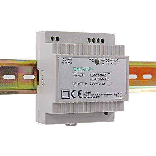 Auforua® Fuente de Alimentación LED 220 VAC/60 W 24 Vdc 2.5 A, Transformador LEDs Estabilizado para Carril DIN