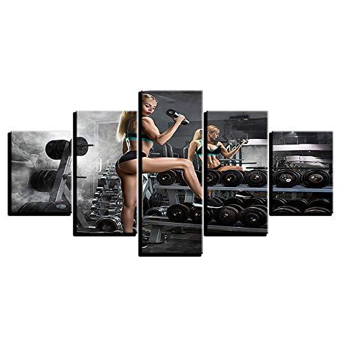AMOHart Leinwanddrucke Moderne HD 5 Stücke Schönheit Frau Fitness Hantel Poster Wandkunst Wohnzimmer Wohnkultur Drucke auf Leinwand Rahmen