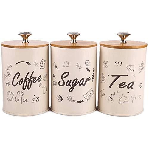 Tanque de almacenamiento Alimentos Bote for la cocina 1 Set Caja de almacenamiento de botellas de té del café envases de los tarros de caramelo almacenamiento de azúcar Botellas Tarros Contenedores de