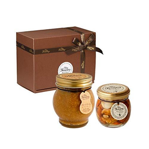 ピーナッツハニーL(200g) + ナッツの蜂蜜漬けM(80g) / ブラウンギフトボックス(S) + MYHONEYロゴ入りリボン