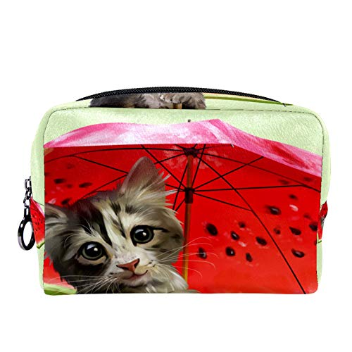 Bolsa de cosméticos Bolsa de Maquillaje para Mujer para Viajar Llevar cosméticos Cambiar Llaves, etc.,Kitty sostiene Paraguas